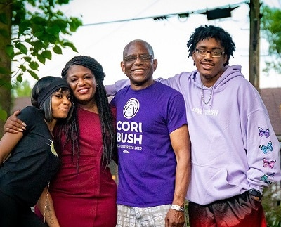 Cori Bush with father Earl bush, daughter and son