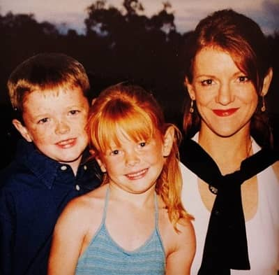 Abigail Cowen with mother Leslie Cowen and Brother Dawson Cowen